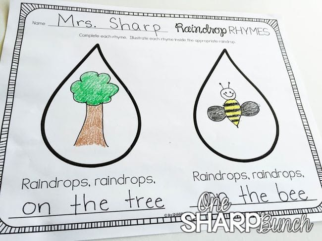 Raindrop Rhymes worksheet showing two large raindrops with pictures drawn in them and rhyming lines (Poetry Games and Activities)