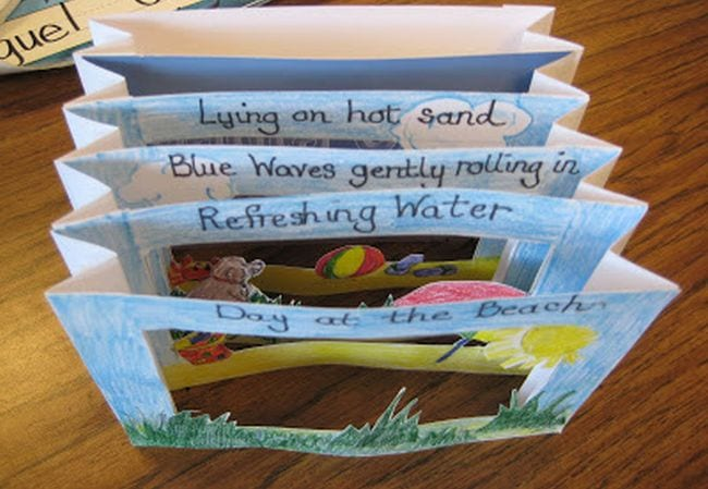 Paper haiku book with illustrations and cutouts