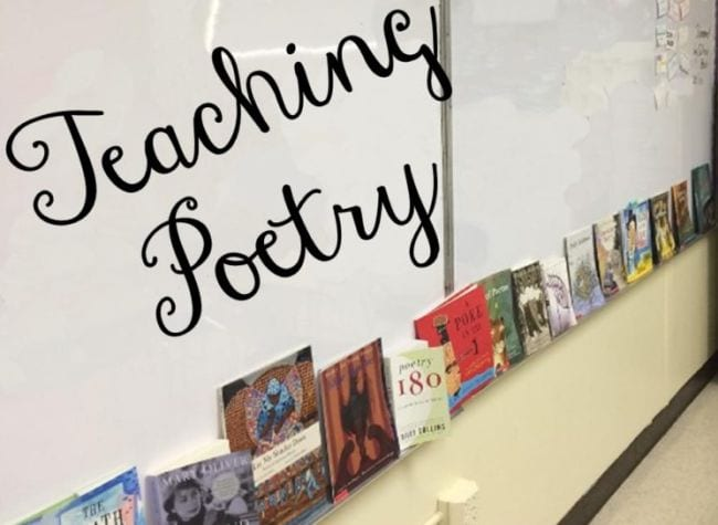 Whiteboard ledge lined with poetry books; text reads Teaching Poetry