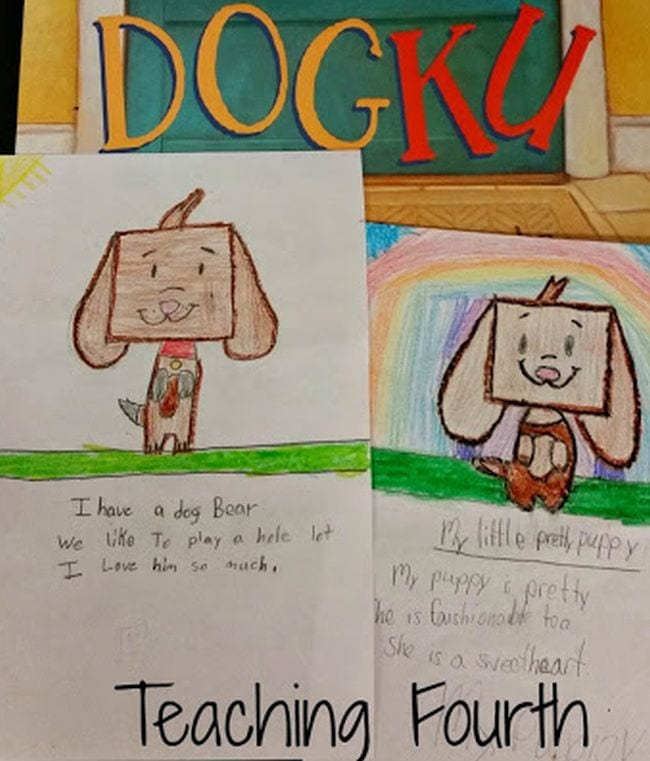 Dogku book with illustrated haiku poems about dogs from Teaching Fourth