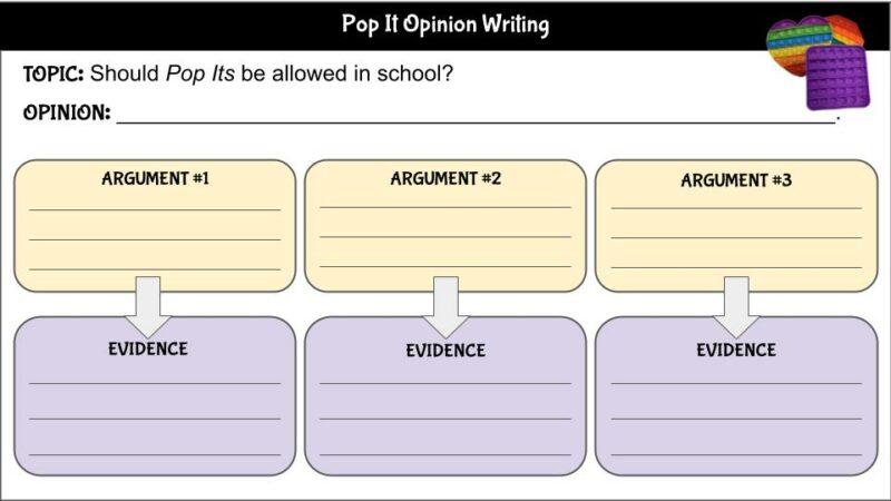 Pop It Opinion Writing
