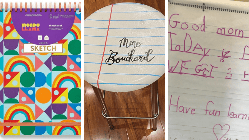 Notebook, stool, and shared writing