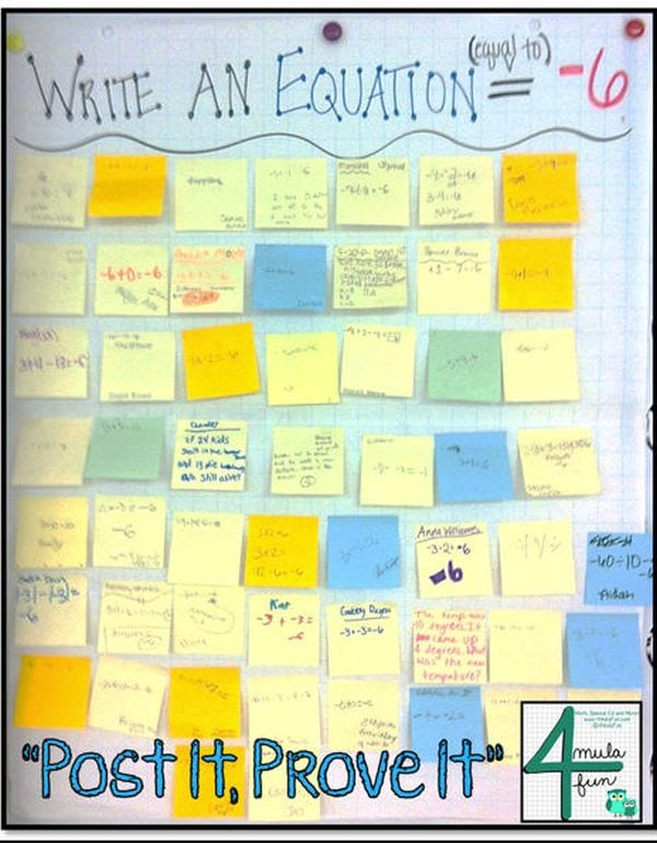 Post Its Teaching HS Math