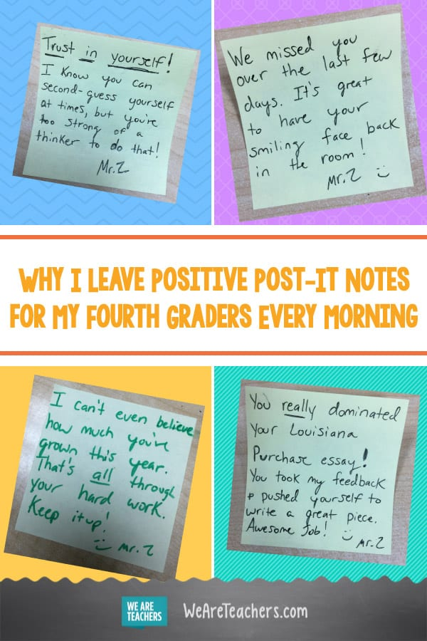 Why I Leave Positive Post-It Notes for My Fourth Graders Every Morning