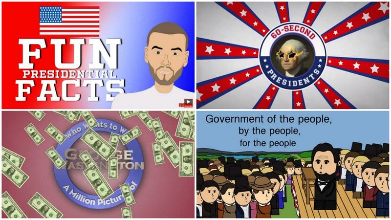 Collage of stills from Presidents' Day videos for kids