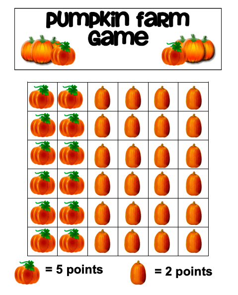 a printable worksheet for the pumpkin farm game
