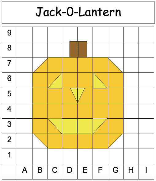 a coordinate grid with a jack o lantern in the middle