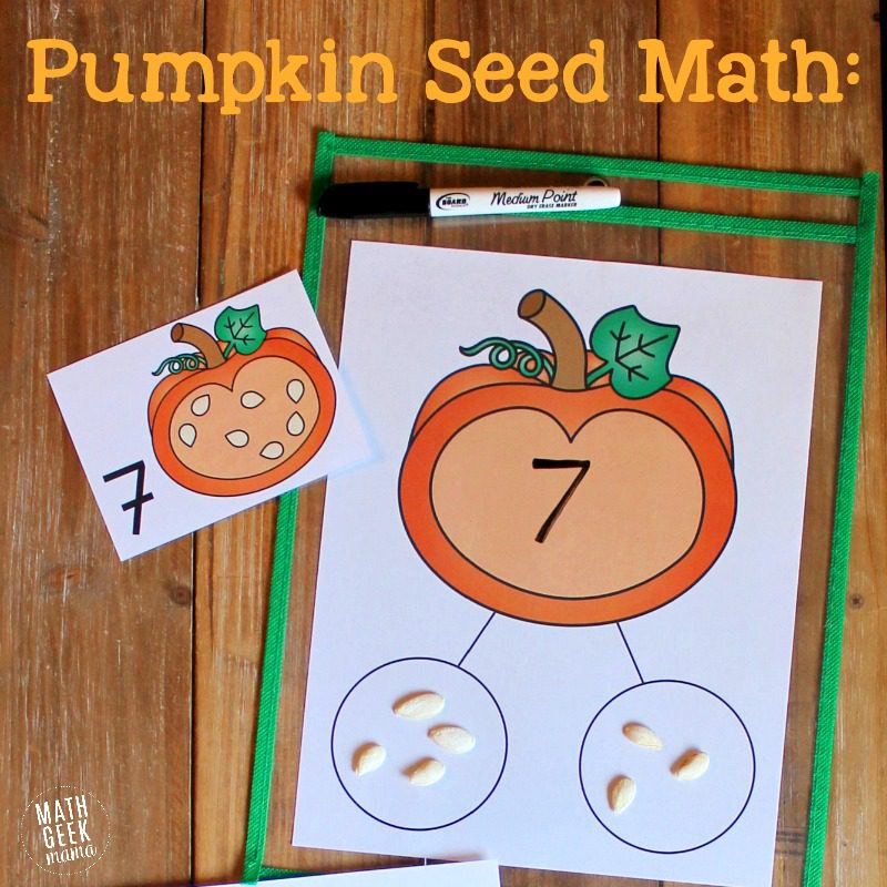a worksheet with numbers, a pumpkin and circles to place pumpkin seeds in