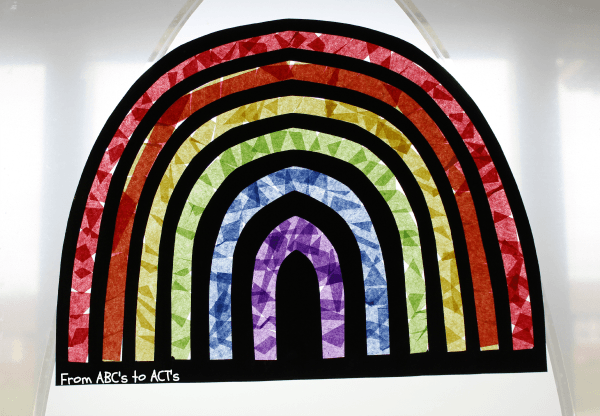 Tissue paper window rainbow craft