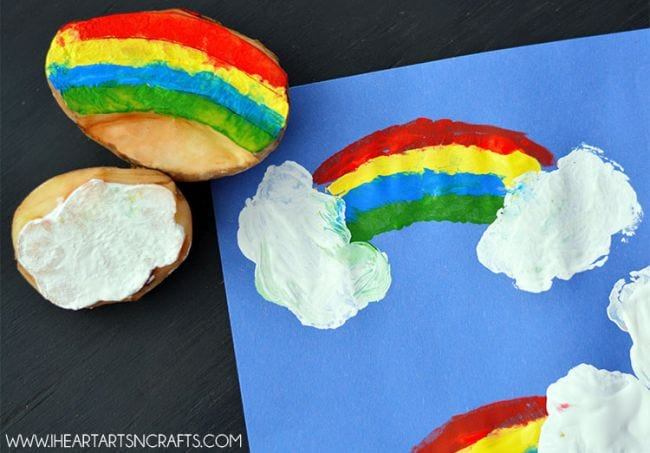Potato stamps for a rainbow craft