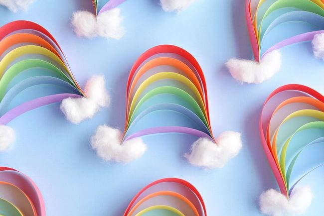 Paper strip rainbows