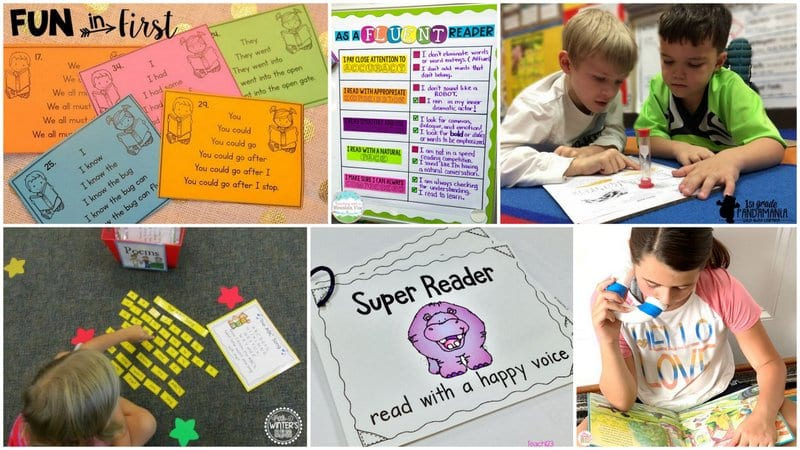 Six separate images of reading fluency activities.