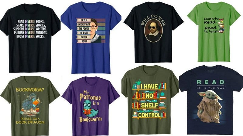 Collage of Reading Shirts for Teachers
