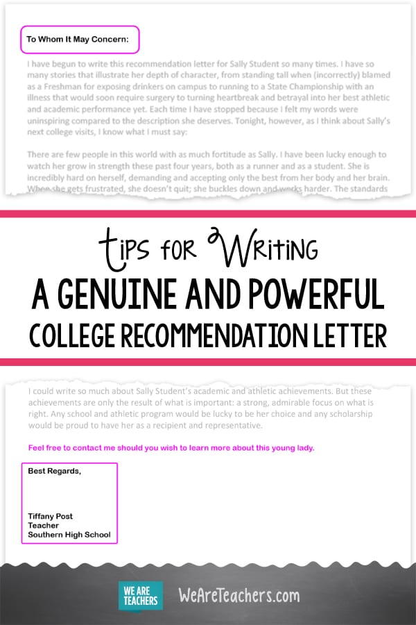 keep your college recommendation letter under a pageand proofread the sweet spot for admissions