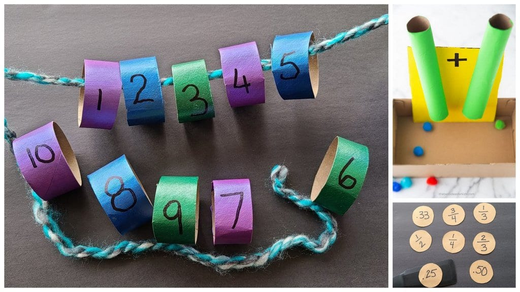 Numbers on a string using recycled materials.