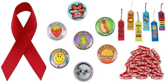 Red Ribbon Week pins, bookmarks, and bracelets