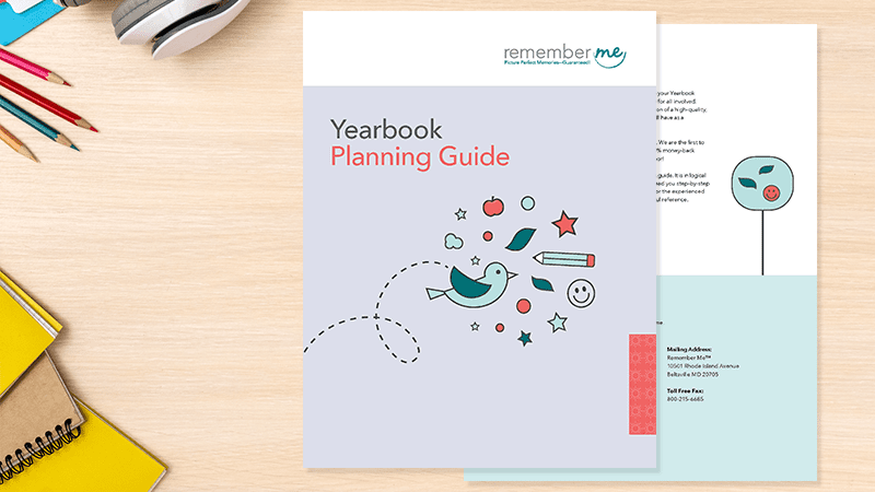 Yearbook Resources Planning Guide on desk with supplies
