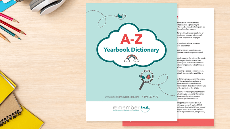 Yearbook Resources - A-Z Dictionary on table with supplies