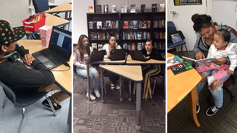 Collage of high school students reading on digital devices and library books - help readers