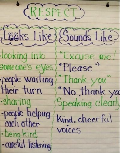 classroom poster that gives students tips on what respectful behavior looks and sounds like