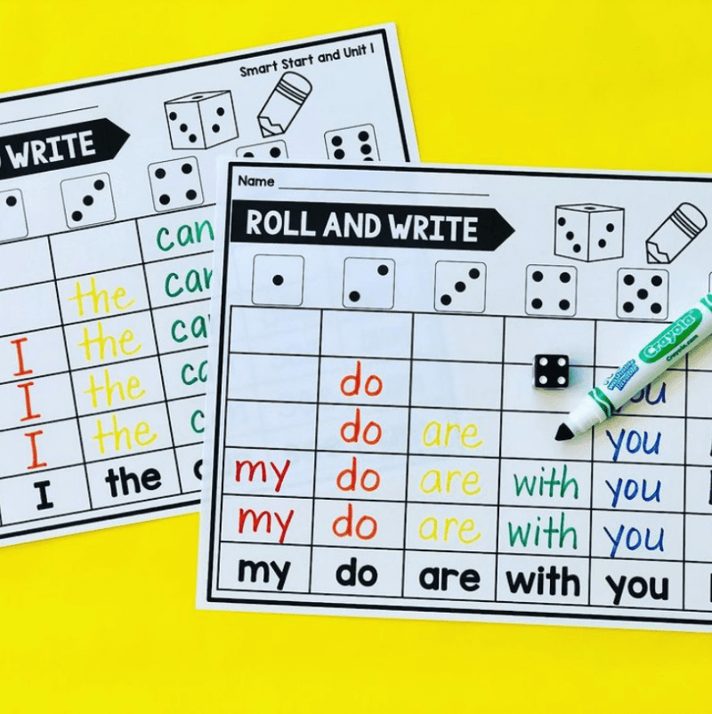Roll and write words for sight word activities