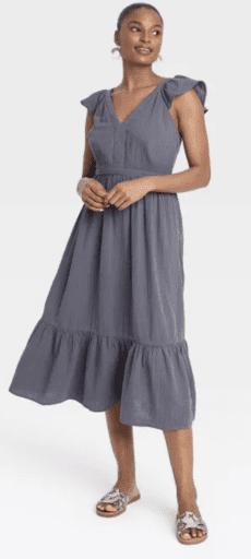 Ruffle tank dress in grey