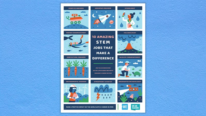 The STEM Jobs That Make a Difference poster on a light blue background