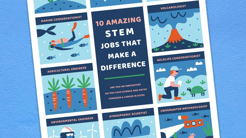A close-up of the STEM jobs that make a difference poster on a light blue background