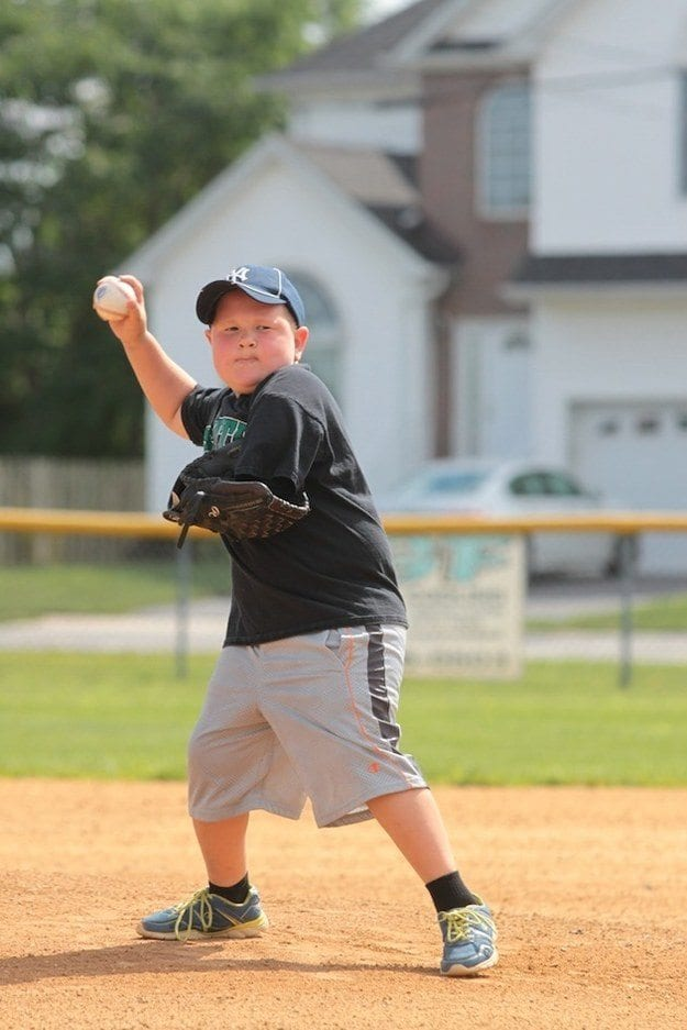 Matthew Hannon pitching with one arm on Marlins with the South Plainfield Junior Baseball Club
