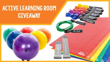 Active learning room giveaway of exercise balls, jump ropes, and yoga mates.