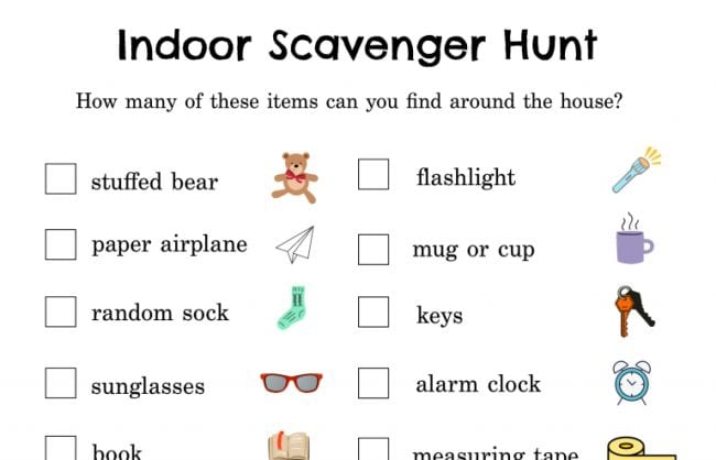 Indoor scavenger hunt printable with items like stuffed bear and sunglasses