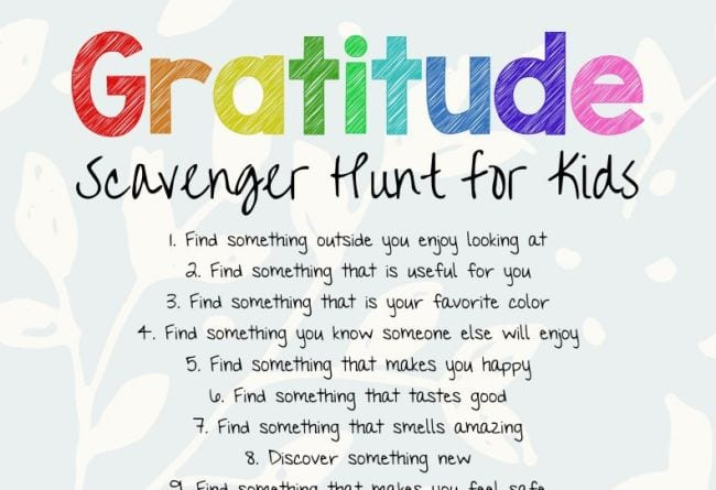 Gratitude Scavenger Hunt for Kids printable