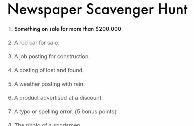 Newspaper Scavenger Hunt printable