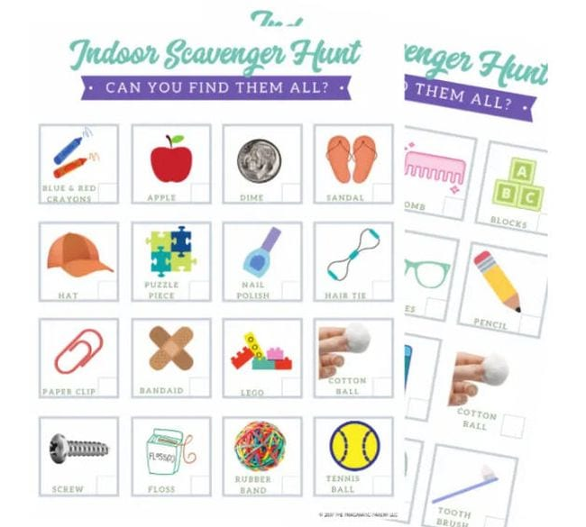 Indoor scavenger hunts with pictures of items to find