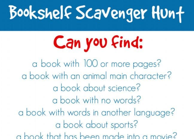 Bookshelf scavenger hunt printable