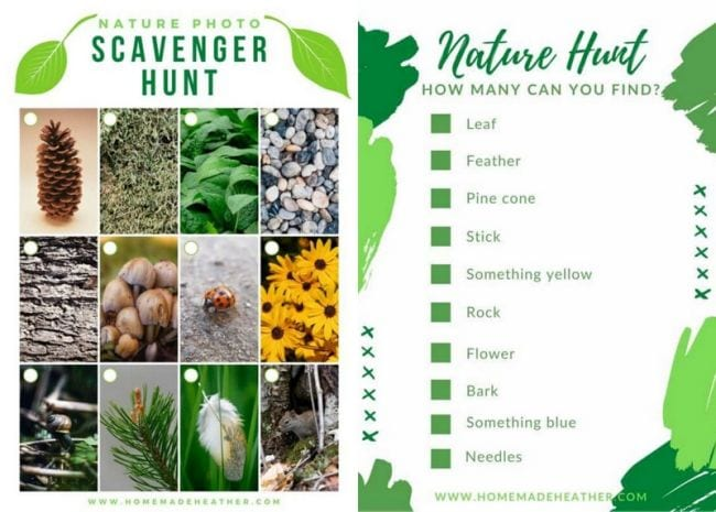 Two nature scavenger hunts, one with photos and the other a printed checklist