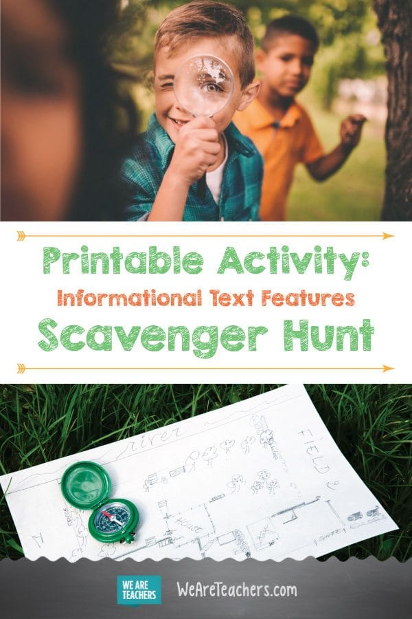 Printable Activity: Informational Text Features Scavenger Hunt