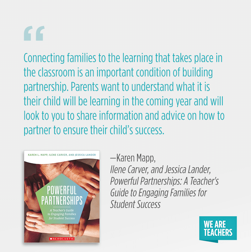 """Connecting families to the learning that takes place in the classroom is an important condition of building partnership. Parents <em>want</em> to understand what it is their child will be learning in the coming year and will look to you to share information and advice on how to partner to ensure their child's success."""