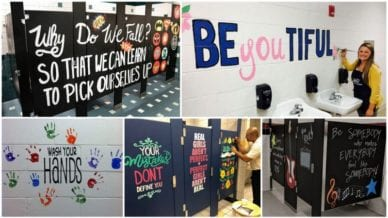 School Bathrooms Painted with Inspiring Words
