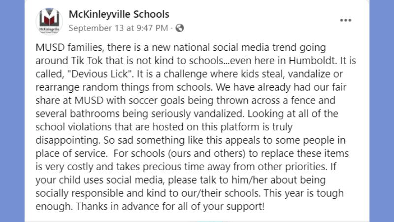 School FB response to dangerous TikTokTrend