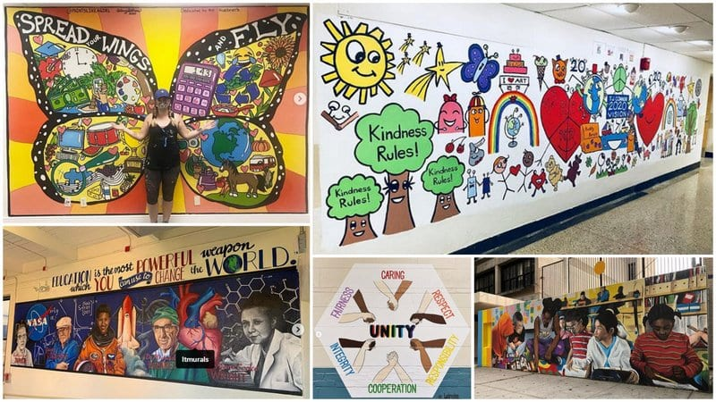 Five Images of School Mural Ideas about Joy and Kindness.
