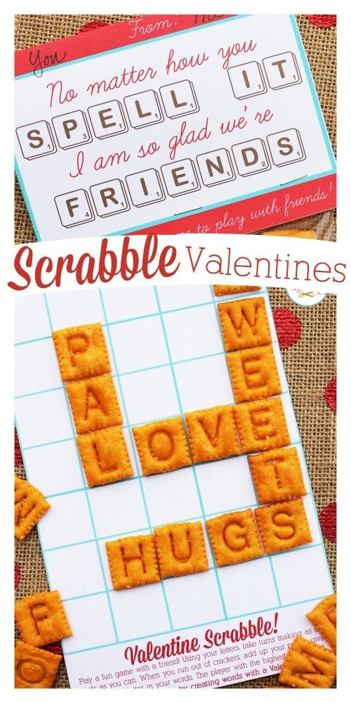 """Scrabble board valentine with Scrabble Cheese-Its and a card that says, """"No matter how you spell it, I'm so glad we're friends"""""""
