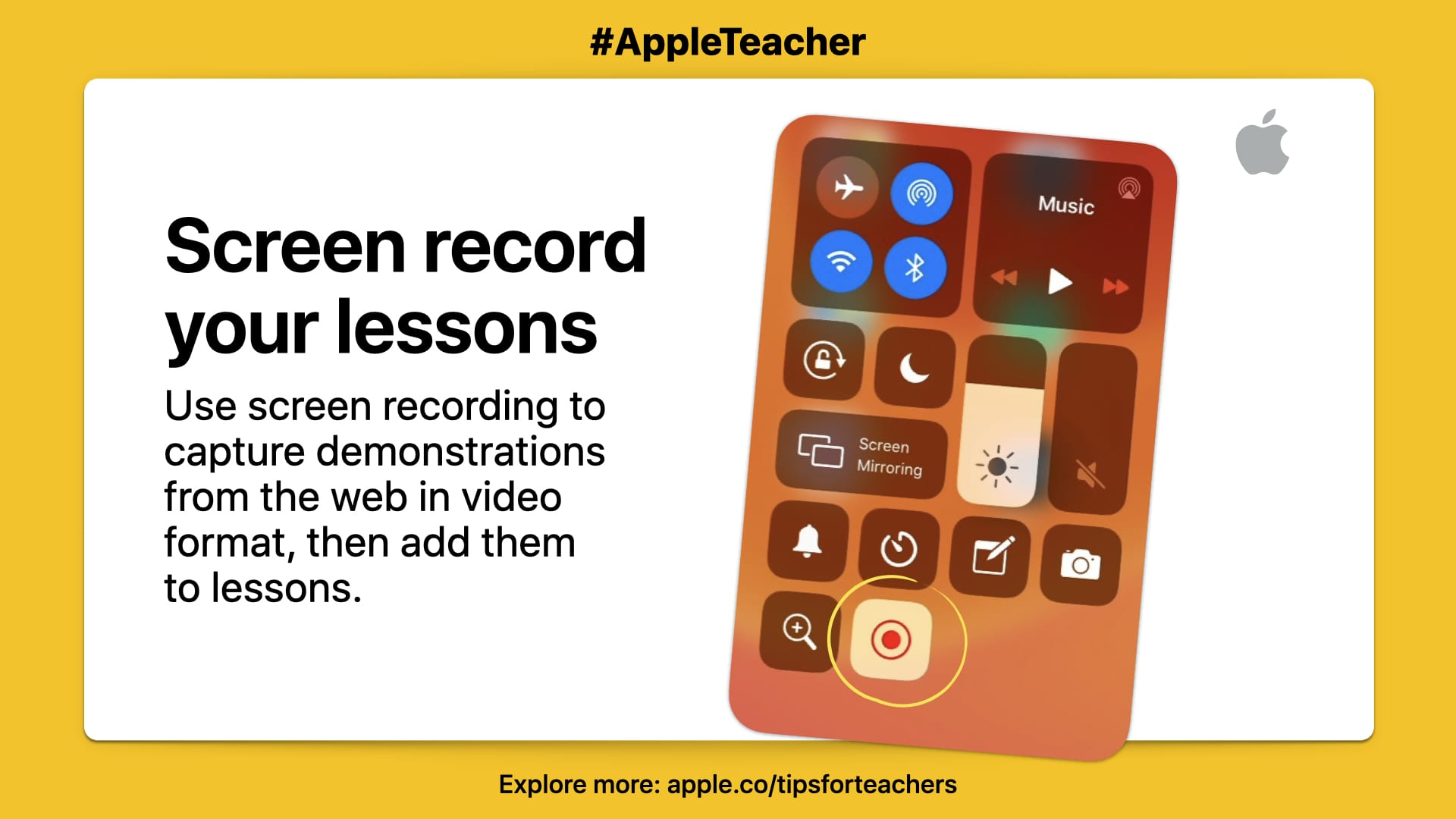 """Use screen recording to capture demonstrations from the web in video format, and add them to your lessons."" Picture of iPad with on white square with yellow border."