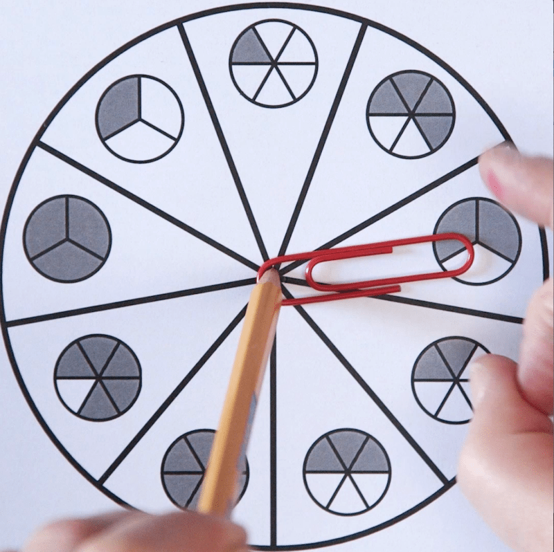 Fraction Spinner Games - Free Fractions Worksheets