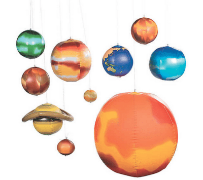 Inflatable hanging planets for classroom space theme