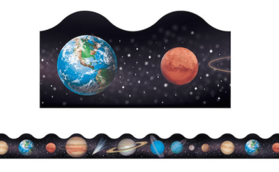 Black classroom wall trimming with stars and planets