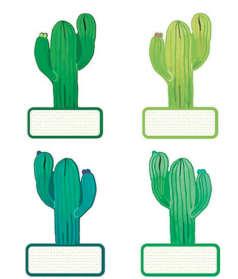 Four different green cactus-themed classroom labels