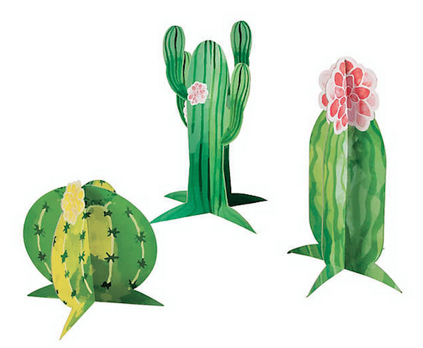 Decorative green paper cactus centerpieces with pink flower accents