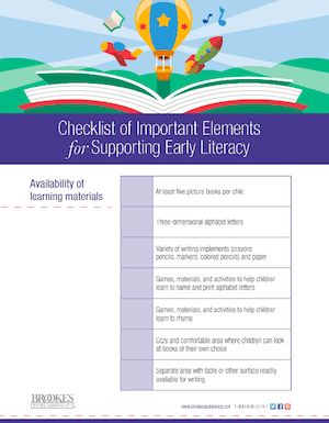 Literacy Checklist - Early Childhood Resources