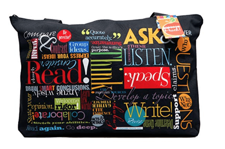 Black tote bag with inspirational saying like Read! and Collaborate!